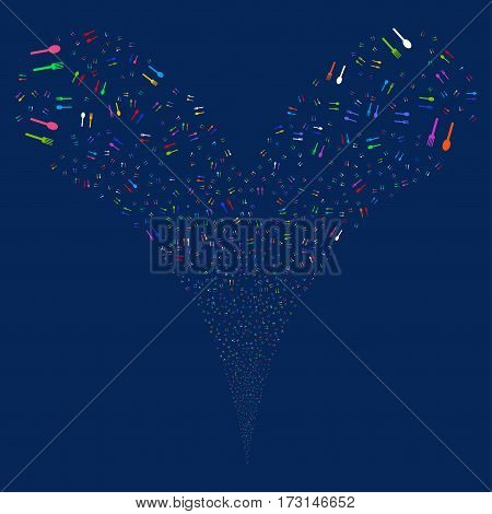 Fork And Spoon fireworks stream. Vector illustration style is flat bright multicolored iconic symbols on a blue background. Object double fountain combined from random symbols.