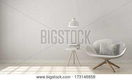 Scandinavian Minimalistic Background, White Armchair With Table And Pendant Lamp On Herringbone Natu