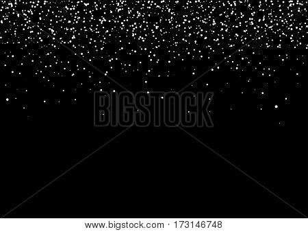 Snow black background for christmas, new year and winter card template with abstract confetti stars background.