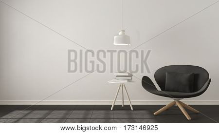 Scandinavian Minimalistic Background, Gray Armchair With Table And Pendant Lamp On Herringbone Natur