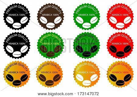100% Arabica coffee - sticker or label , coffee bean , Coffee premium quality