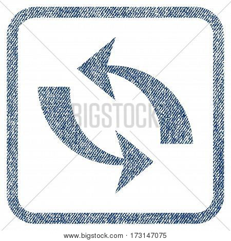 Refresh vector textured icon for overlay watermark stamps. Blue jeans fabric vectorized texture. Symbol with unclean design inside rounded rectangle.