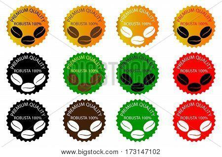 100% Robusta coffee - sticker or label , coffee bean , Coffee premium quality