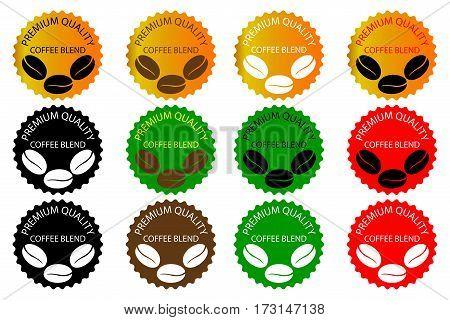 100% coffee blend - sticker or label , coffee bean , Coffee premium quality