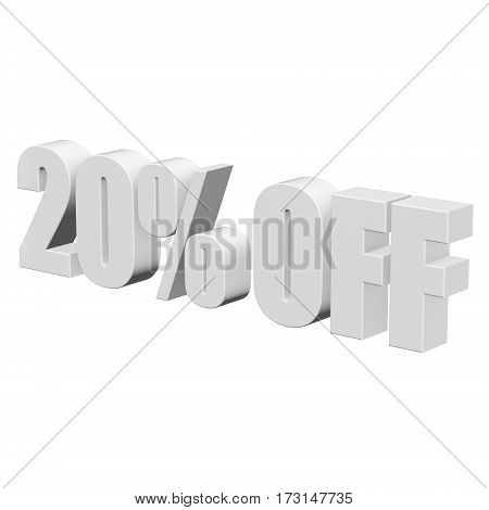 20 percent off letters on white background. 3d render isolated.