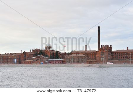 Historical prison Crosses and Neva River in St.Petersburg Russia.