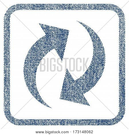 Refresh vector textured icon for overlay watermark stamps. Blue jeans fabric vectorized texture. Symbol with scratched design inside rounded rectangular frame.