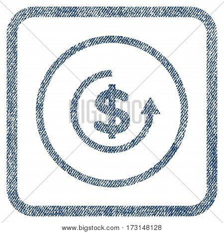 Refund vector textured icon for overlay watermark stamps. Blue jeans fabric vectorized texture. Symbol with dirty design inside rounded rectangular frame.