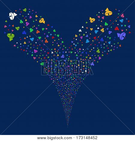 Radio Telescope fireworks stream. Vector illustration style is flat bright multicolored iconic symbols on a blue background. Object double fountain organized from random pictograms.