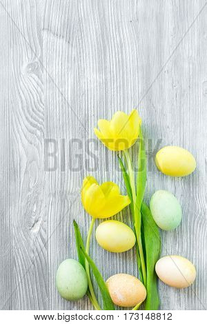 Easter concept eggs with tulip top view mock up.