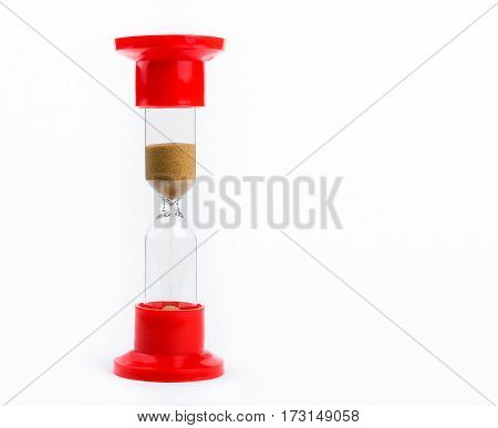 red hourglass started the countdown isolated on white background
