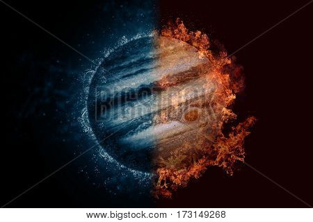 Planet Jupiter In Water And Fire. Concept Sci-fi Artwork