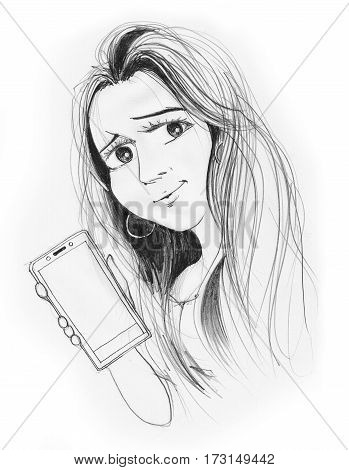 Beautiful woman presenter of mobile phone for advertisement promote She has nice long hair Cartoon character design hand draw black and white.