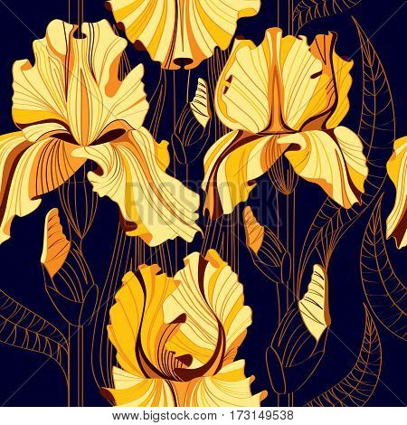 Seamless floral pattern with spring flowers. Vector background with yellow irises. Background for leaflets, postcards, invitations and banners.