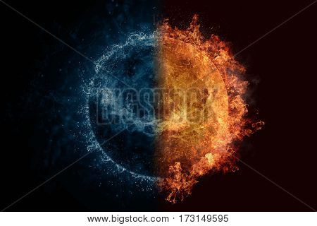 Planet Venus In Water And Fire. Concept Sci-fi Artwork