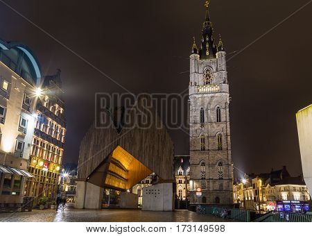 GHENT BELGIUM - 18TH FEB 2016: The exterior of the Het Belfort van Gent in the Old Town at night.