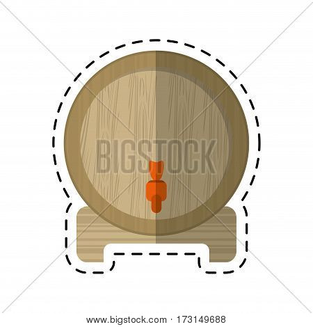 cartoon wine barrel faucet wooden vector illustration eps 10