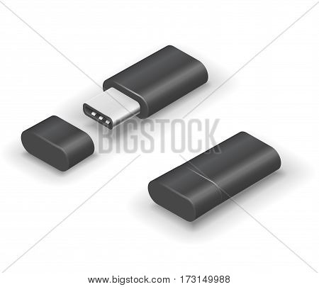 USB 3.0 Type C black colored stick flash pen drive. Vector illustration in 3D looks isometry