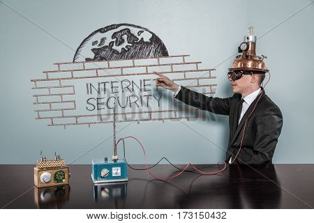 Internet Security concept with vintage businessman pointing hand