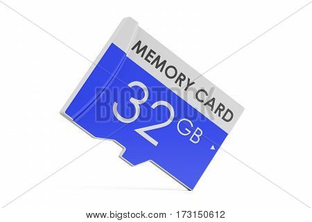 memory card 32GB 3D rendering isolated on white background