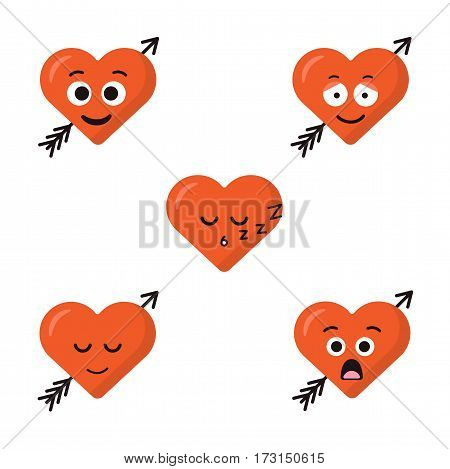 Collection of five cartoon emoticons heart faces with arrow isolated on the white background. Flat modern style smiles.