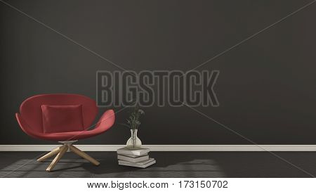 Scandinavian Minimalistic Background, With Red Armchair On Herringbone Natural Parquet Flooring, Int