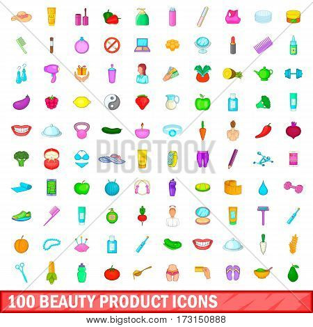 100 beauty product icons set in cartoon style for any design vector illustration