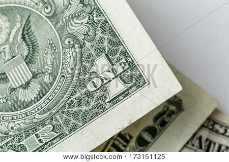 US cash banknote money dollars background. Top view, macro photo close up