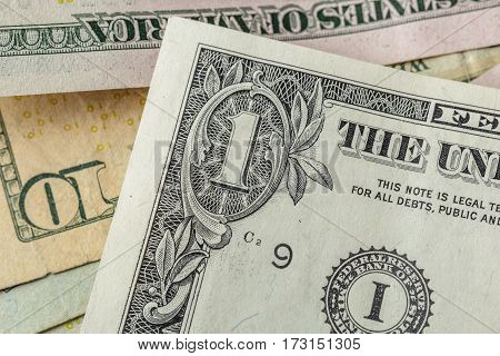 Money background, usa dollars banknote, top view, macro photo