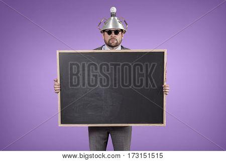 Science businessman holding blackboard office blank background