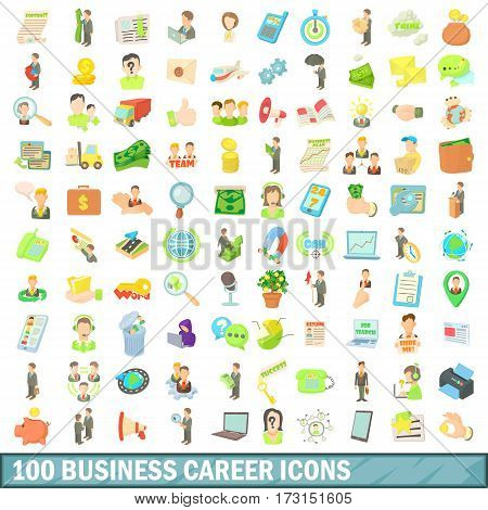 100 business career icons set in cartoon style for any design vector illustration