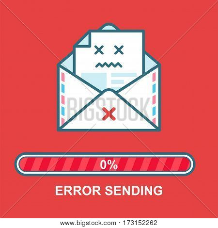 Envelope emoticon. Error sending. Flat illustration email drunk character design with progress bar. Process of email sending. Text message error.