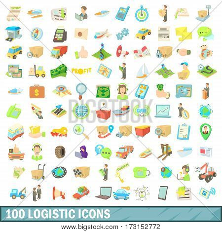 100 logistic icons set in cartoon style for any design vector illustration