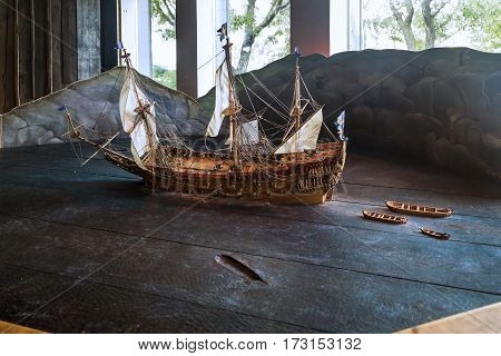 STOCKHOLM, SWEDEN - JUNE 28, 2016: This is model of Swedish ship of the 17th century