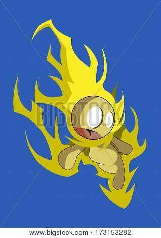 Cute Element Guardian of fire falling from the sky.
