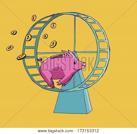 Piggy bank running on a Hamster wheel lossing his coins