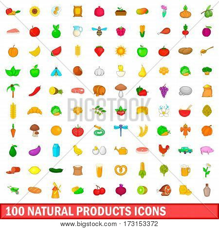100 natural product icons set in cartoon style for any design vector illustration