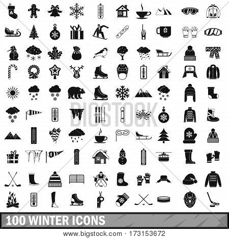 100 winter icons set in simple style for any design vector illustration