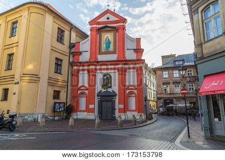 KRAKOW POLAND - 15TH OCTOBER 2016: The outside of the Church of. St. John the Baptist in Krakow Old Town during the day