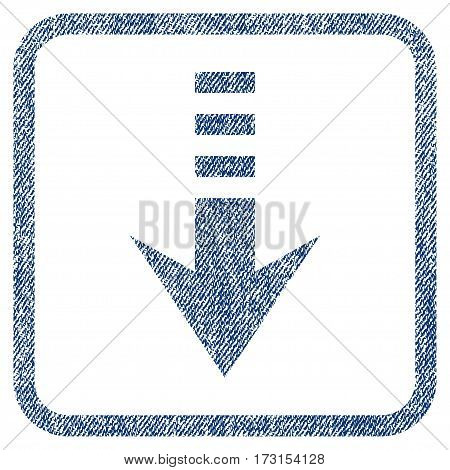 Send Down vector textured icon for overlay watermark stamps. Blue jeans fabric vectorized texture. Symbol with scratched design inside rounded rectangular frame.
