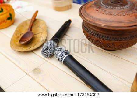two microphones on the table background media