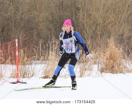 Kirishi, Russia - 11 February, Skier at the track, 11 February, 2017. Mass ski race Russian Ski Track.