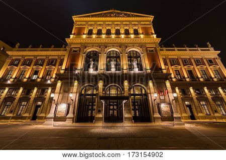 VIENNA AUSTRIA - 12TH NOVEMBER 2016: The outside of the Wiener Musikverein venue in Vienna during the early evening.
