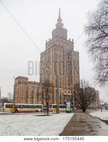 RIGA LATVIA - 2ND JAN 2017: The outside of the Latvian Academy of Sciences in central Riga during the day in the winter. The building has a viewing platform offering fantastic views of the city.