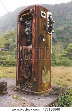 Rusty Old Gas Pump In The Jungle