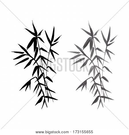 Bamboo black and grey plant isolated vector illustration