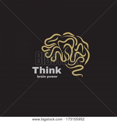 Vector logo brain power. Think idea and brainstorm concept.