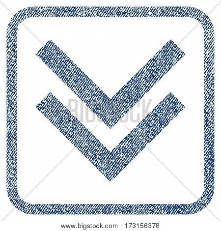 Shift Down vector textured icon for overlay watermark stamps. Blue jeans fabric vectorized texture. Symbol with dust design inside rounded rectangle.