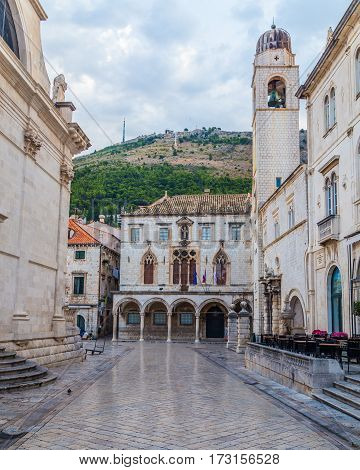 DUBROVNIK CROATIA - 11TH AUGUST 2016: A view of along quiet streets in Dubrovnik during the morning.