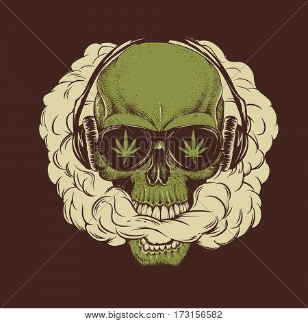 Skull smoking a marijuana and breathes the smoke out of his mouth.Prints design for t-shirt.Street style label